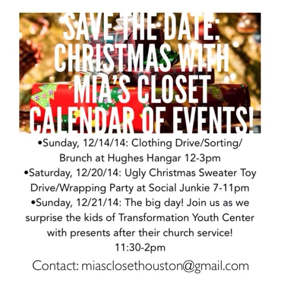 Save The Dates Mia's Closet Christmas Houston