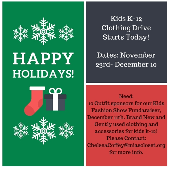 Kids K-12 Clothing Drive Starts Today!