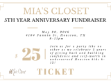 Join us! Mia's Closet 5th Year Anniversary Party Friday, May 20th!